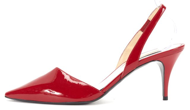 STELLA MCCARTNEY Red Faux Patent Leather D'orsay Slingback Heels