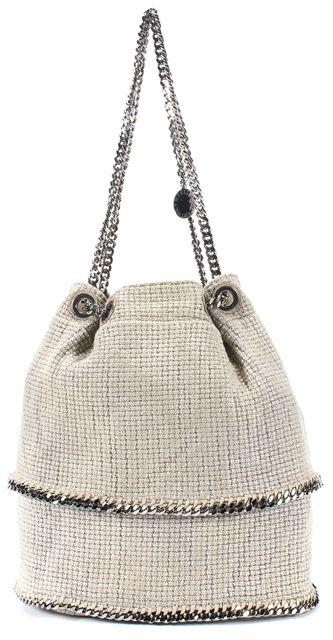 STELLA MCCARTNEY Beige Woven Canvas Silver Chain Falabella Bucket Shoulder Bag