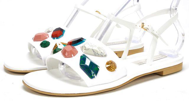 STELLA MCCARTNEY White Canvas Jewel Embellished Flat Sandals
