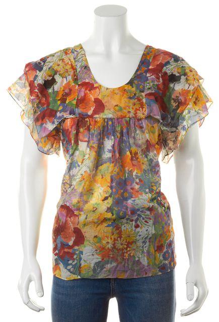 STELLA MCCARTNEY Multi-Color Floral Cotton Silk Flutter Sleeve Blouse