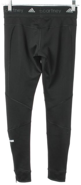 ADIDAS BY STELLA MCCARTNEY Black Mesh Trim Ankle Zip Workout Leggings