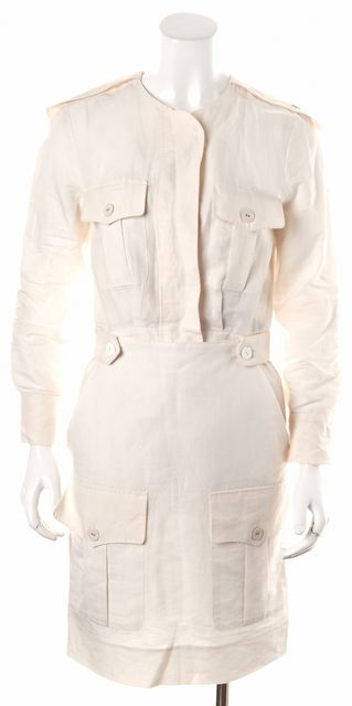 STELLA MCCARTNEY White Linen Multi Pocket Sheath Dress