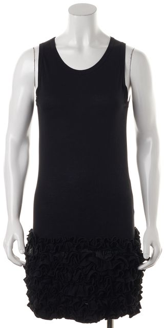 STELLA MCCARTNEY Black Sleeveless Ruffle Tiered Hem Tank Dress