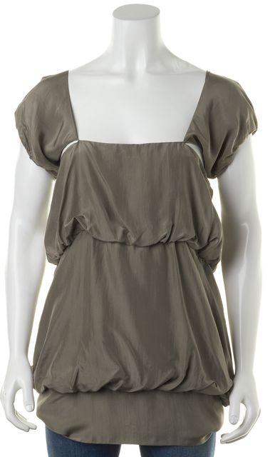 STELLA MCCARTNEY Gray Silk Cutout Ruffled Cap Sleeve Blouse