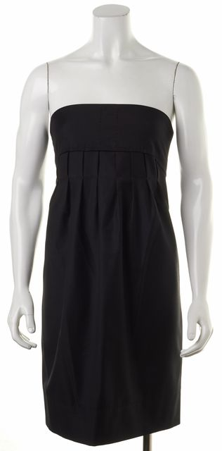 STELLA MCCARTNEY Black Wool Strapless Pleated Sheath Dress