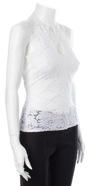 STELLA MCCARTNEY White Floral Print Lace Halter Top US 2 IT 38
