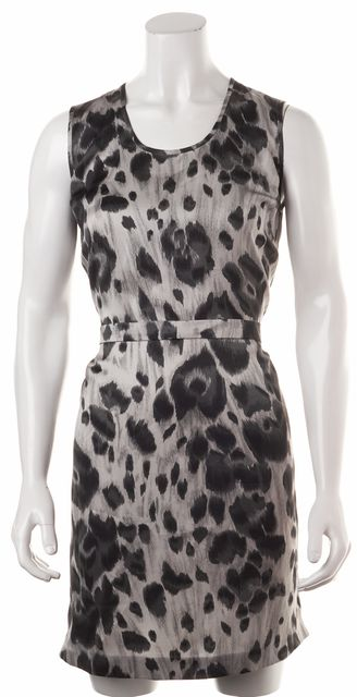 STELLA MCCARTNEY Gray Leopard Print Silk Sleeveless Blouson Dress