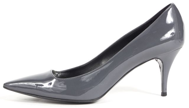 STELLA MCCARTNEY Gray Patent Vegan Leather Pointed Toe Heels