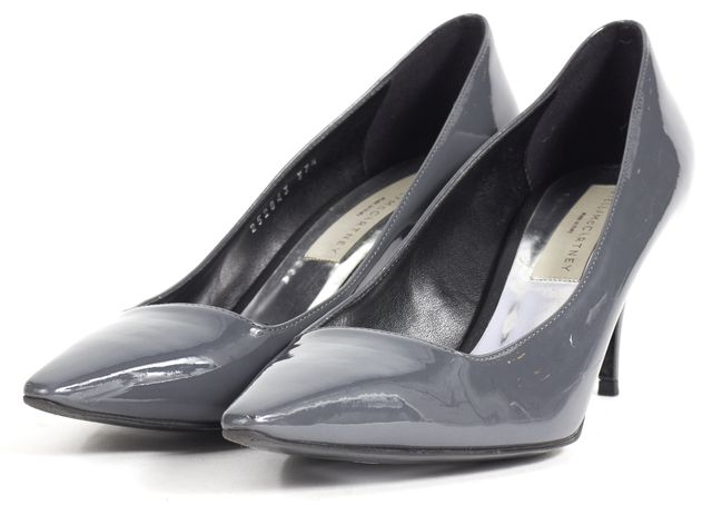 STELLA MCCARTNEY Gray Patent Vegan Leather Pointed Toe Heels
