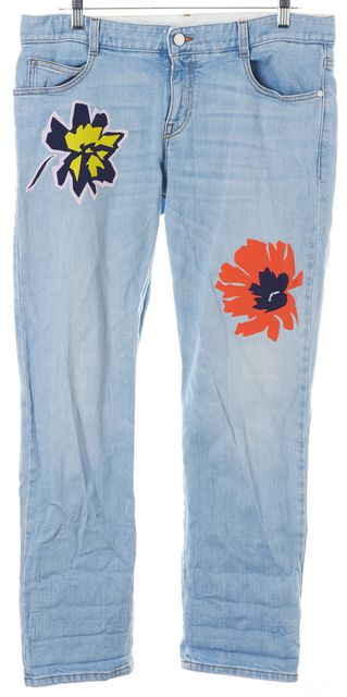 STELLA MCCARTNEY Blue Flower Patch Embroidered Skinny Boyfriend Jeans