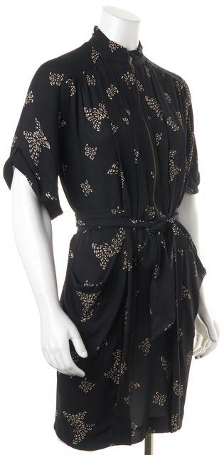 STELLA MCCARTNEY Black Beige Geometric Print Silk Tie Waist Shift Dress