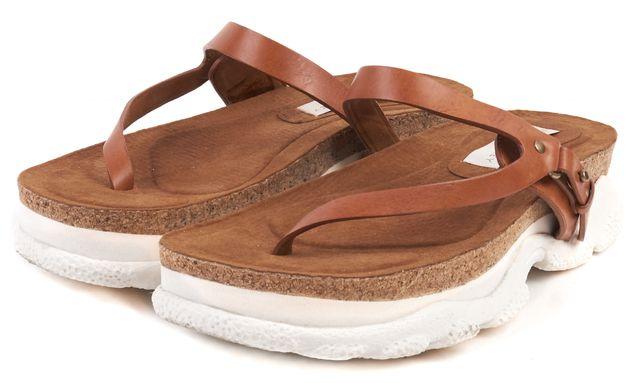 STELLA MCCARTNEY Brown Vegan Leather Platform Slip-On Sandals
