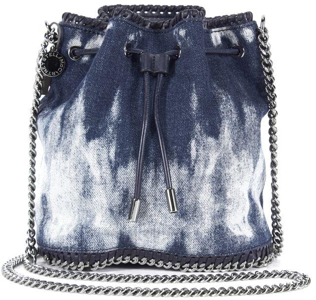 STELLA MCCARTNEY Blue Tie Dye Denim Bucket Crossbody Shoulder Bag