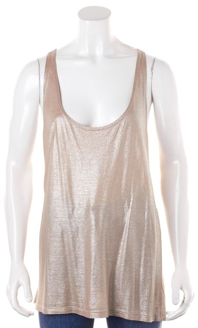 STELLA MCCARTNEY Beige Metallic Shimmer Racerback Tank Top