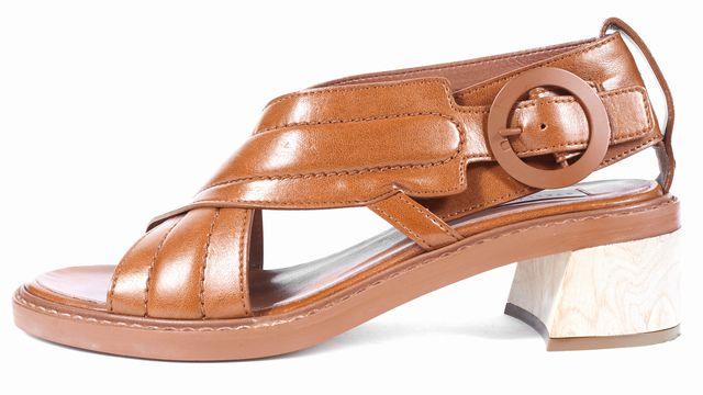 STELLA MCCARTNEY Brown Leather Crisscross Open Toe Sandals