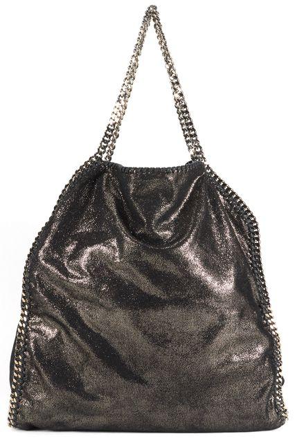 STELLA MCCARTNEY Black Shimmer Silver Chain Vegan Leather Falabella Bag