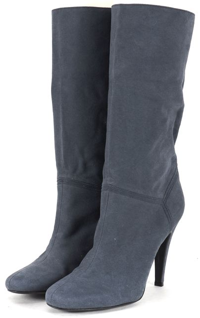 STELLA MCCARTNEY Air Force Blue Vegan Suede Slouch Mid-Calf Boots