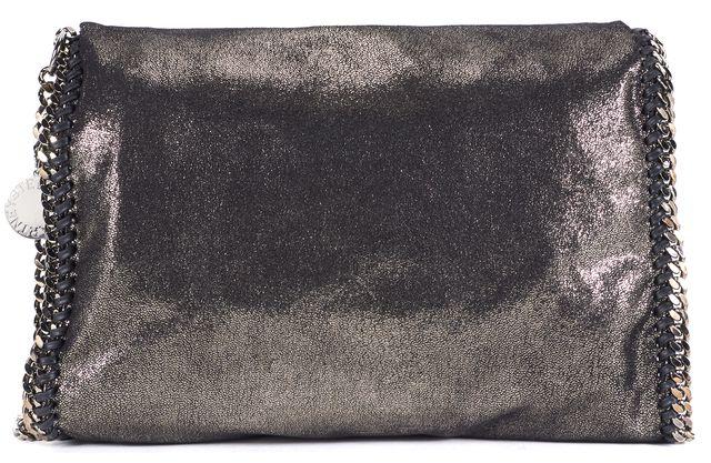 STELLA MCCARTNEY Metallic Gray Vegan Leather Falabella Shoulder Bag