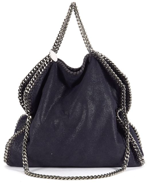 STELLA MCCARTNEY Navy Falabella Shaggy Deer Foldover Tote