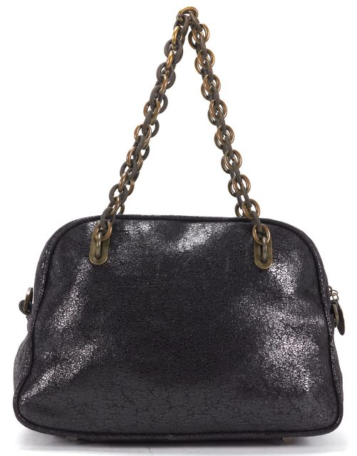 STELLA MCCARTNEY Black Chamois Bronze-Tone Chain Handle Satchel Bag