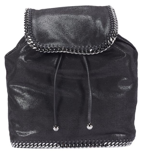STELLA MCCARTNEY Black Shaggy Deer Vegan Suede Chain Link Falabella Backpack