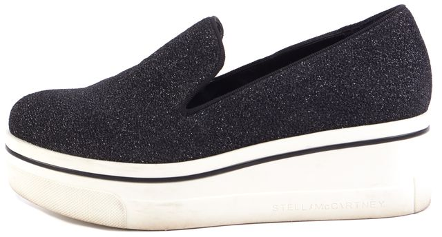STELLA MCCARTNEY Black Binx Sparkle Wedge Sneakers