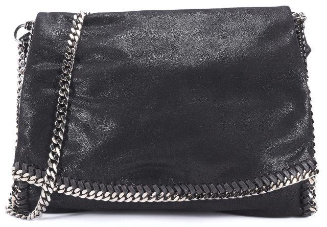 STELLA MCCARTNEY Large Black Shaggy Deer Falabella Flap Crossbody Handbag