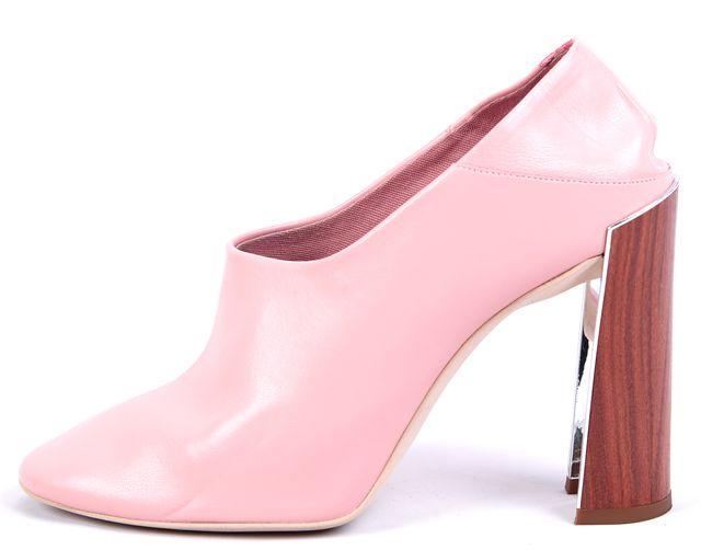 STELLA MCCARTNEY Pink Wooden-Heel Convertible-Mule Leather Pumps