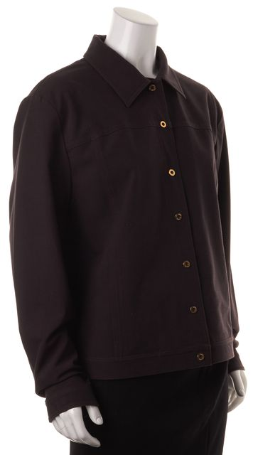 ST. JOHN SPORT Brown Stretch Button Up Basic Jacket