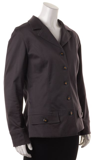 ST. JOHN SPORT Gray Stretch Cotton Canvas Button Down Jacket w Pockets