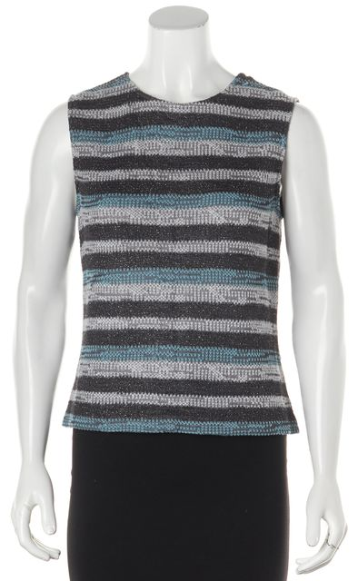 ST. JOHN SPORT Gray Blue Metallic Striped Sleeveless Knit Top