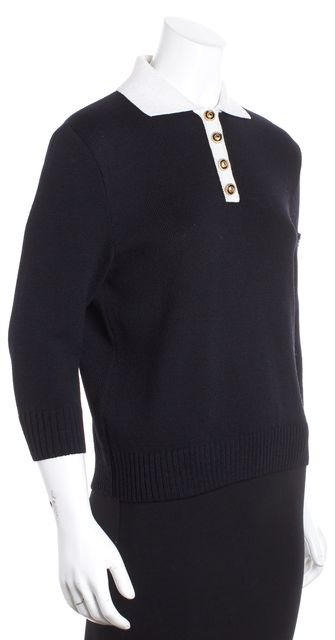 ST. JOHN SPORT Black/ Ivory Colorblock Collared Gold Button Sweater