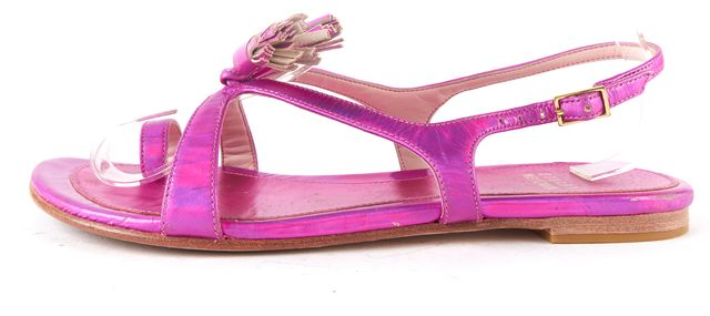 STUART WEITZMAN Neon Pink Metallic Leather Tassels Embellished Sandals