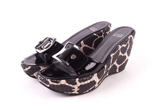 STUART WEITZMAN Black Patent Leather Silver Buckle Wedge Sandals