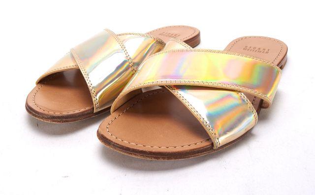STUART WEITZMAN Iridescent Gold Leather Slip On Sandals