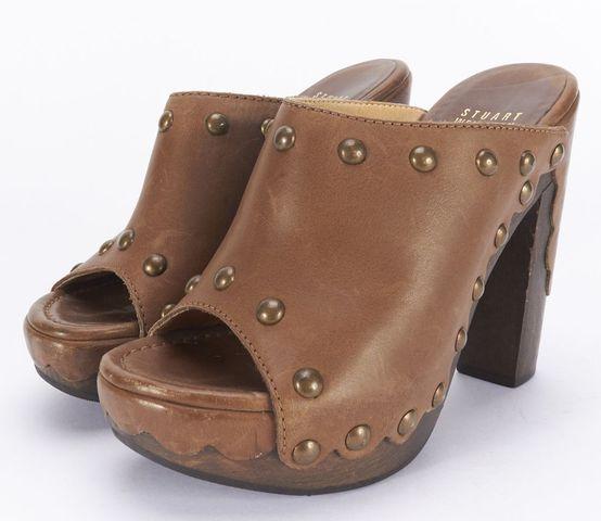 STUART WEITZMAN Brown Leather Studded High Heel Mules