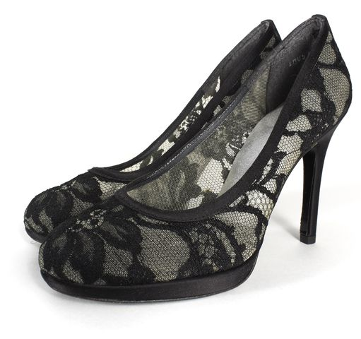 STUART WEITZMAN Black Satin Lace Mesh Round-toe Platform Pumps Size 6