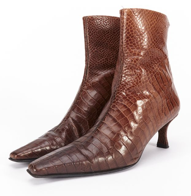 STUART WEITZMAN Brown Leather Crocodile Embossed Pointed-toe Ankle Boots