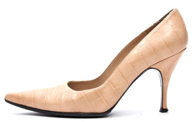 STUART WEITZMAN Beige Croc Embossed Leather Pointed Toe Pumps