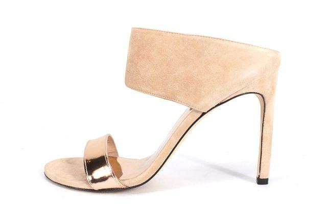 STUART WEITZMAN Pink Suede Leather Metallic Myslide Heels