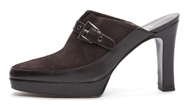 STUART WEITZMAN Brown Suede Leather Buckle Lifestyle Heeled Mules