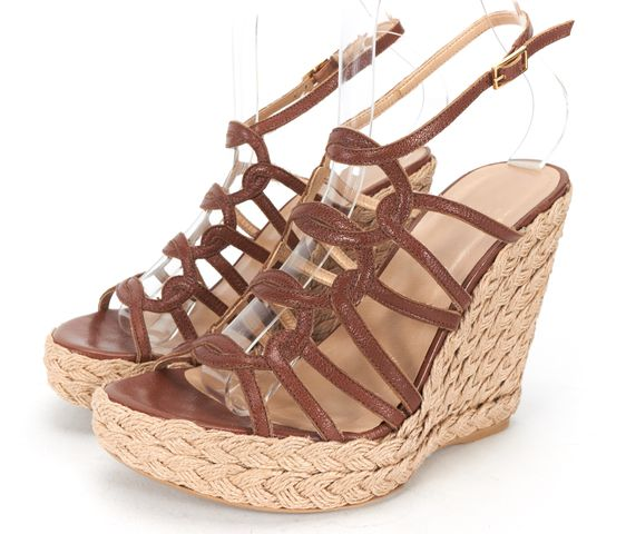 STUART WEITZMAN Brown Leather Open Toe Caged Espadrille Wedges Size 6