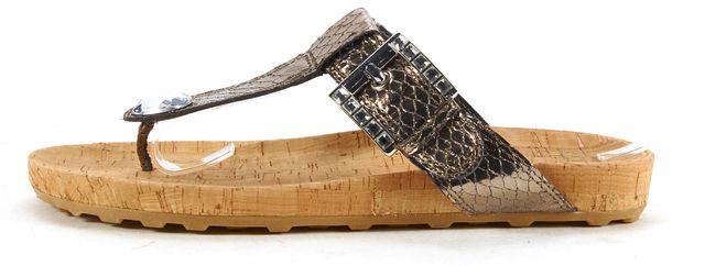 STUART WEITZMAN Silver Metallic Snake Embossed Leather Sandals