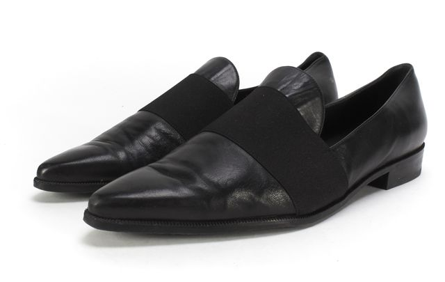 STUART WEITZMAN Black Leather Pointed-Toe Loafers