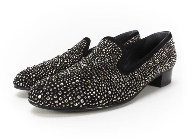 STUART WEITZMAN Black Suede Stud Embellished Smoking Slippers Loafers