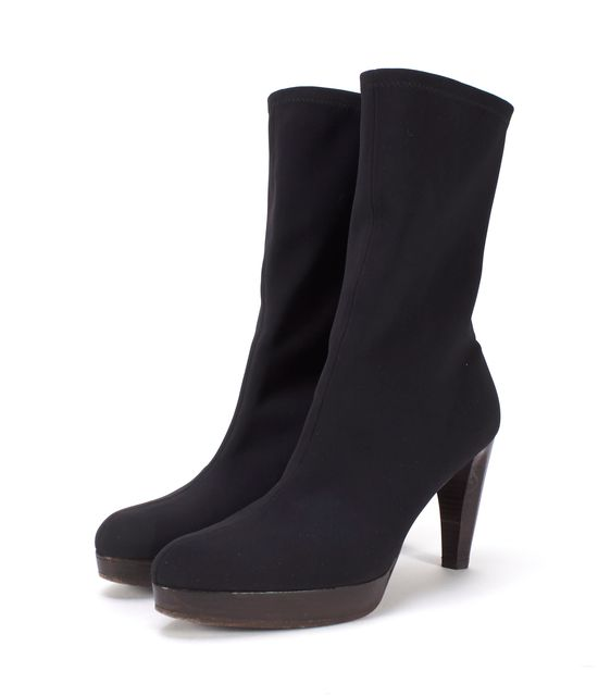 STUART WEITZMAN Black Fabric Pointed-Toe Ankle Boots