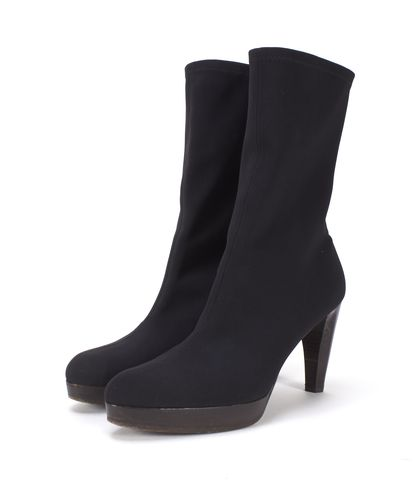 STUART WEITZMAN Black Fabric Pointed-toe Ankle Boots Size 7