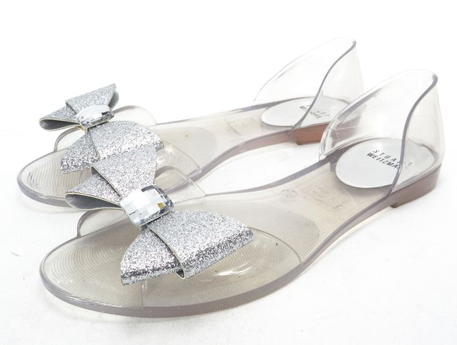 STUART WEITZMAN Clear PVC Jelly Crystal Metallic Bow Embellished Flats