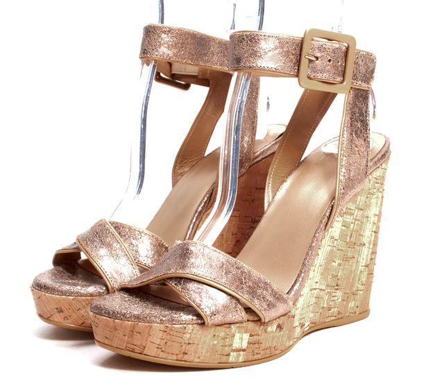 STUART WEITZMAN Bronze Metallic Textured Leather Cork Wedge Sandals
