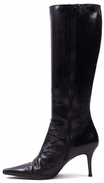 STUART WEITZMAN Black Leather Pointed Toe Knee High Boots